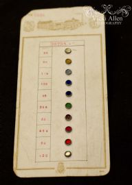 19 th Century Salesman's Sample Card - Glass Buttons or Jewelled Sew On Decorations